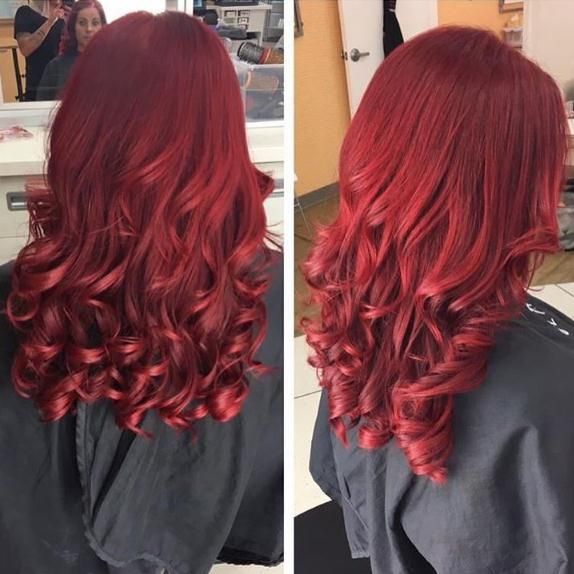 Wavy Red long hair colors for women